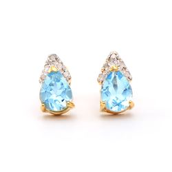 Plated 18KT Yellow Gold 2.65ctw Blue Topaz and Diamond Earrings
