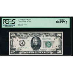 1928 $20 Cleveland Federal Reserve Note PCGS 66PPQ