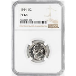 1954 Proof Jefferson Nickel Coin NGC PF68