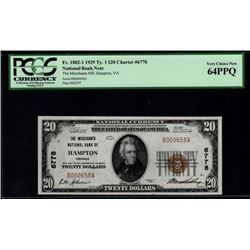 1929 $20 Hampton National Bank Note PCGS 64PPQ