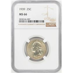 1939 Washington Quarter Coin NGC MS66