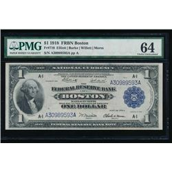 1918 $1 Boston Federal Reserve Bank Note PMG 64