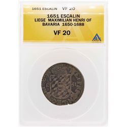 1651 Liege Maximilian Henri Of Bavaria Escalin Coin ANACS VF20
