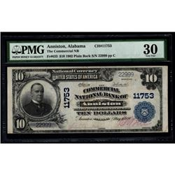 1902 $10 Anniston National Bank Note PMG 30