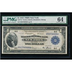 1918 $1 New York Federal Reserve Bank Note PMG 64