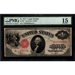 1917 $1 Legal Tender STAR Note PMG 15