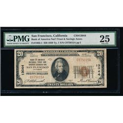 1929 $20 San Francisco National Bank Note PMG 25