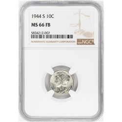 1944-S Mercury Dime Coin NGC MS66FB