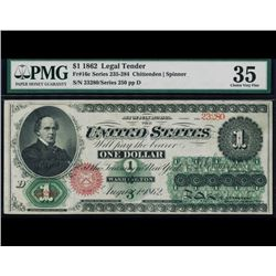 1862 $1 Legal Tender Note PMG 35