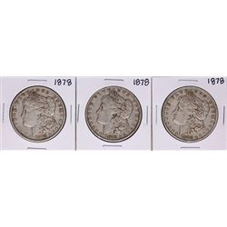 Lot of (3) 1878 $1 Morgan Silver Dollar Coins