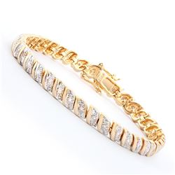 Plated 18KT Yellow Gold 0.39ctw Diamond Bracelet