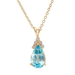 Plated 18KT Yellow Gold 5.05ctw Blue Topaz and Diamond Pendant with Chain