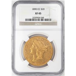 1890-CC $20 Liberty Head Double Eagle Gold Coin NGC XF45