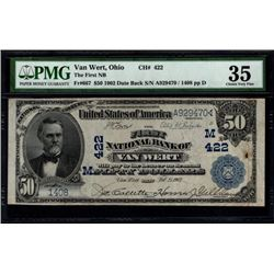 1902 $50 Van Wert National Bank Note PMG 35