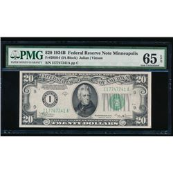 1934B $20 Minneapolis Federal Reserve Note PMG 65EPQ