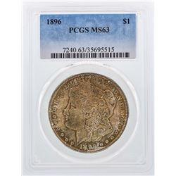1896 $1 Morgan Silver Dollar Coin PCGS MS63 Nice Color