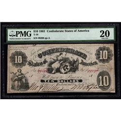 1861 $10 Confederate States of America Note PMG 20