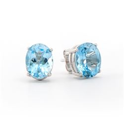 Plated Rhodium 5.65ctw Blue Topaz Earrings