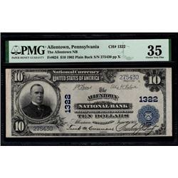 1902 $10 Allentown National Bank Note PMG 35
