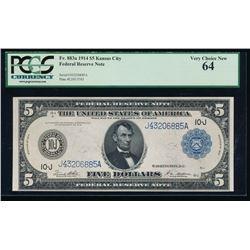 1914 $5 Kansas City Federal Reserve Note PCGS 64