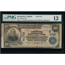 1902 $10 Alexandria National Bank Note PMG 12