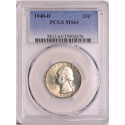 1940-D Washington Quarter Coin PCGS MS64
