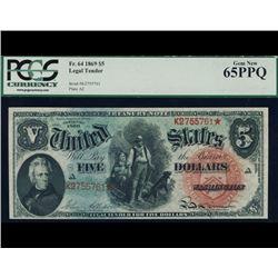 1869 $5 Rainbow Legal Tender PCGS 65PPQ