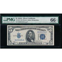 1934A $5 Silver Certificate PMG 66EPQ