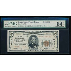 1929 $5 Green Lane National Bank Note PMG 64EPQ