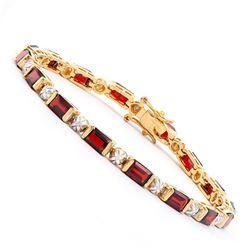 Plated 18KT Yellow Gold 10.00ctw Garnet and Diamond Bracelet