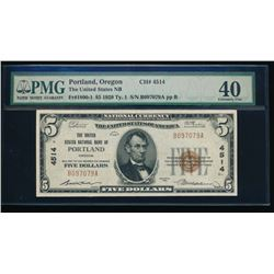 1929 $5 Portland National Bank Note PMG 40