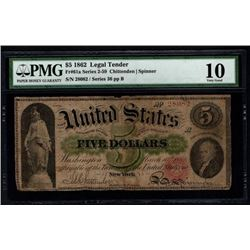 1862 $5 Legal Tender Note PMG 10