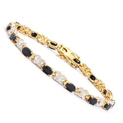Plated 18KT Yellow Gold 8.25ctw Black Sapphire and Diamond Bracelet