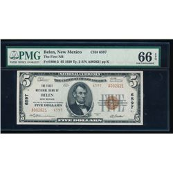 1929 $5 Belen National Bank Note PMG 66EPQ
