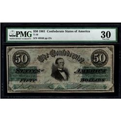 1861 $50 Confederate States of America Note PMG 30