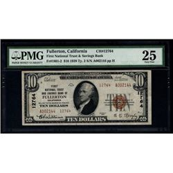 1929 $20 Fullerton National Bank Note PMG 25