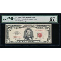 1963 $5 Legal Tender Star Note PMG 67EPQ