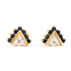 Plated 18KT Yellow Gold 0.65ctw Black Sapphire and Diamond Earrings