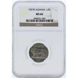1927R Albania 1/4 Leku Coin NGC MS66