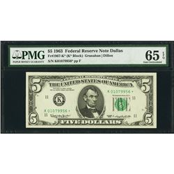 1963 $5 Dallas Federal Reserve STAR Note PMG 65EPQ