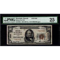 1929 $50 Honolulu National Bank Note PMG 25