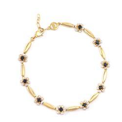 Plated 18KT Yellow Gold 1.25ctw Black Sapphire and Diamond Bracelet
