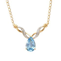 Plated 18KT Yellow Gold 4.75ctw Blue Topaz and Diamond Pendant with Chain