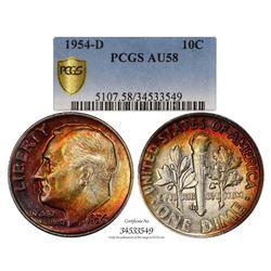 1954-D Roosevelt Dime Coin PCGS AU58 Amazing Toning