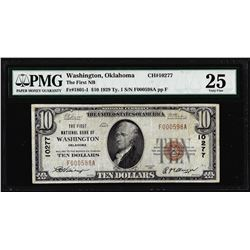 1929 $10 First NB of Washington, OK CH# 10277 National Currency Note PMG Very Fine 25