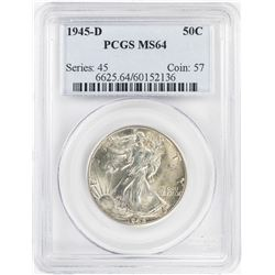 1945-D Walking Liberty Half Dollar Coin PCGS MS64