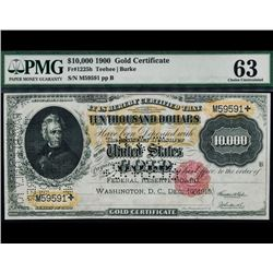 1900 $10,000 Gold Certificate PMG 63