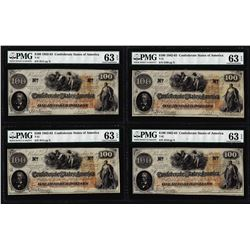 (4) Consecutive 1862 $100 Confederate States of America Notes PMG Ch. Uncirculated 63EPQ