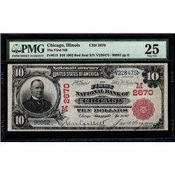 1902 $10 Chicago National Bank Note PMG 25