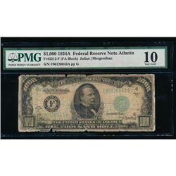 1934A $1000 Atlanta Federal Reserve Note PMG 10